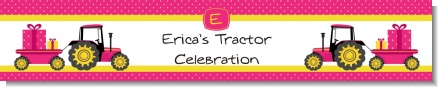 Tractor Truck Pink - Personalized Baby Shower Banners