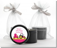 Tractor Truck Pink - Baby Shower Black Candle Tin Favors