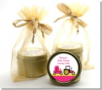 Tractor Truck Pink - Baby Shower Gold Tin Candle Favors