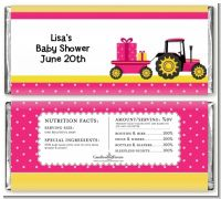 Tractor Truck Pink - Personalized Baby Shower Candy Bar Wrappers