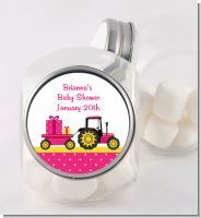 Tractor Truck Pink - Personalized Baby Shower Candy Jar