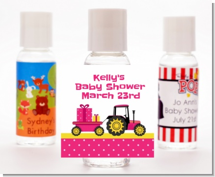 Tractor Truck Pink - Personalized Baby Shower Hand Sanitizers Favors