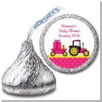Tractor Truck Pink - Hershey Kiss Baby Shower Sticker Labels