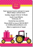 Tractor Truck Pink - Baby Shower Invitations