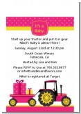 Tractor Truck Pink - Baby Shower Petite Invitations