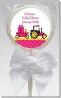 Tractor Truck Pink - Personalized Baby Shower Lollipop Favors