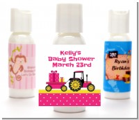 Tractor Truck Pink - Personalized Baby Shower Lotion Favors