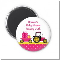 Tractor Truck Pink - Personalized Baby Shower Magnet Favors