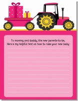 Tractor Truck Pink - Baby Shower Notes of Advice