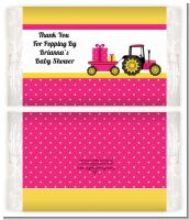 Tractor Truck Pink - Personalized Popcorn Wrapper Baby Shower Favors