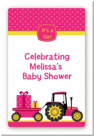 Tractor Truck Pink - Custom Large Rectangle Baby Shower Sticker/Labels