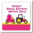 Tractor Truck Pink - Square Personalized Baby Shower Sticker Labels thumbnail