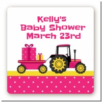 Tractor Truck Pink - Square Personalized Baby Shower Sticker Labels