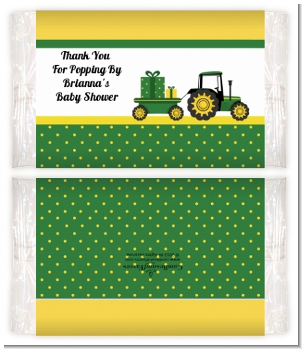 Tractor Truck - Personalized Popcorn Wrapper Baby Shower Favors
