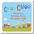 Choo Choo Train - Square Personalized Birthday Party Sticker Labels thumbnail