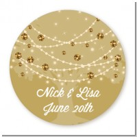 Tree Glitter String Lights - Round Personalized Bridal Shower Sticker Labels