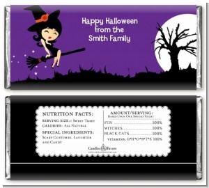 Trendy Witch - Personalized Halloween Candy Bar Wrappers