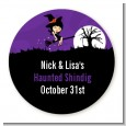 Trendy Witch - Round Personalized Halloween Sticker Labels thumbnail