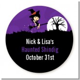 Trendy Witch - Round Personalized Halloween Sticker Labels