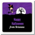 Trendy Witch - Square Personalized Halloween Sticker Labels thumbnail