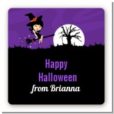 Trendy Witch - Square Personalized Halloween Sticker Labels