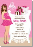 Modern Mommy Crib It's A Girl - Baby Shower Invitations