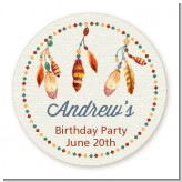 Dream Catcher - Round Personalized Birthday Party Sticker Labels