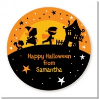 Trick or Treat - Round Personalized Halloween Sticker Labels