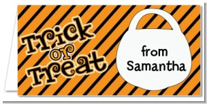 Trick or Treat Stripes - Personalized Halloween Place Cards