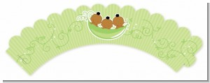 Triplets Three Peas in a Pod African American - Baby Shower Cupcake Wrappers