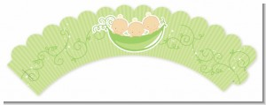 Triplets Three Peas in a Pod Caucasian - Baby Shower Cupcake Wrappers