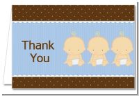Triplets 3 Boys Caucasian - Baby Shower Thank You Cards