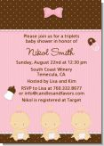 Triplets 3 Girls Caucasian - Baby Shower Invitations