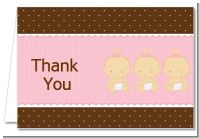 Triplets 3 Girls Caucasian - Baby Shower Thank You Cards