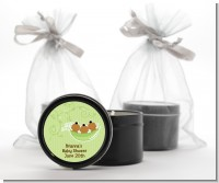 Triplets Three Peas in a Pod African American - Baby Shower Black Candle Tin Favors