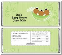 Triplets Three Peas in a Pod African American - Personalized Baby Shower Candy Bar Wrappers
