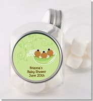 Triplets Three Peas in a Pod African American - Personalized Baby Shower Candy Jar