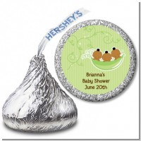 Triplets Three Peas in a Pod African American - Hershey Kiss Baby Shower Sticker Labels