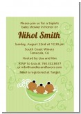 Triplets Three Peas in a Pod African American - Baby Shower Petite Invitations