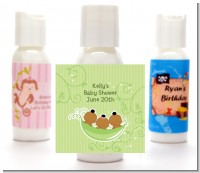 Triplets Three Peas in a Pod African American - Personalized Baby Shower Lotion Favors
