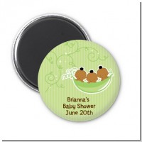Triplets Three Peas in a Pod African American - Personalized Baby Shower Magnet Favors