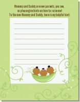 Triplets Three Peas in a Pod African American - Baby Shower Notes of Advice