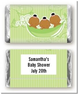 Triplets Three Peas in a Pod African American Three Girls - Personalized Baby Shower Mini Candy Bar Wrappers