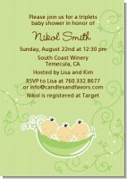 Triplets Three Peas in a Pod Asian - Baby Shower Invitations