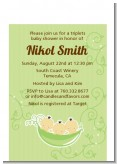 Triplets Three Peas in a Pod Asian - Baby Shower Petite Invitations