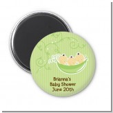 Triplets Three Peas in a Pod Asian - Personalized Baby Shower Magnet Favors