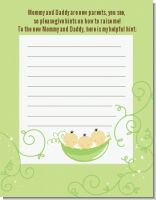 Triplets Three Peas in a Pod Asian - Baby Shower Notes of Advice