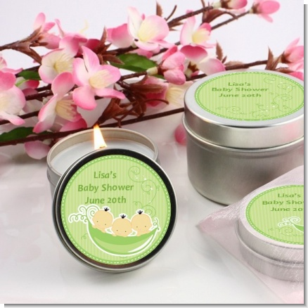 Triplets Three Peas in a Pod Asian Three Boys - Baby Shower Candle Favors