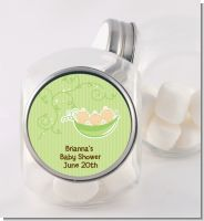 Triplets Three Peas in a Pod Caucasian - Personalized Baby Shower Candy Jar
