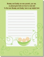 Triplets Three Peas in a Pod Caucasian - Baby Shower Notes of Advice